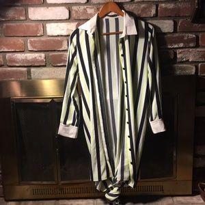 Tops - Neon striped long button up shirt